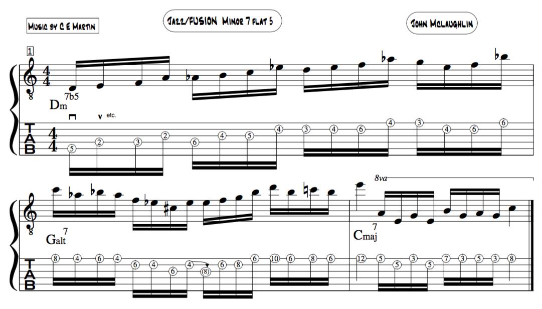 John Mclaughlin Alternate picking Altered scale jazz improviser line