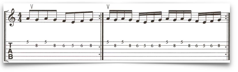 Paul Gilbert alternate picking guitar exercise for the up stroke