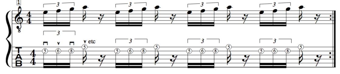 alternate picking guitar exercise crossing the first 2 strings
