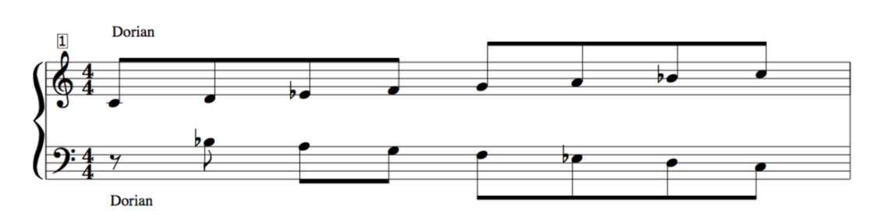 Palindromic D Dorian Mode Mirror harmony