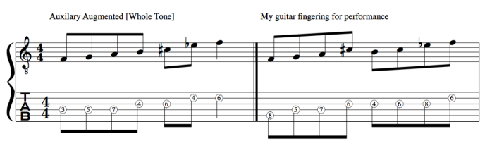 Whole tone scale guitar fingering [Auxilary augmented]