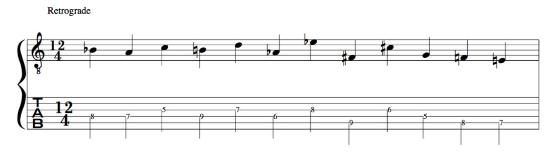 Retrograde 12 tone row Schoenberg