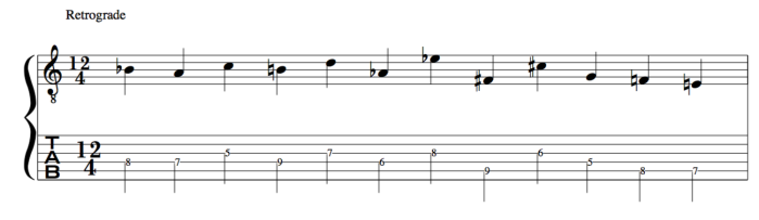 Retrograde 12 tone row Schoenberg