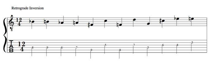 Retrograde Inversion schoenberg 12 tone row