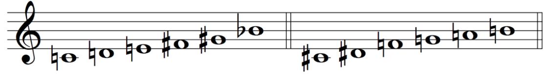 Messiaen mode 1 whole tone scale