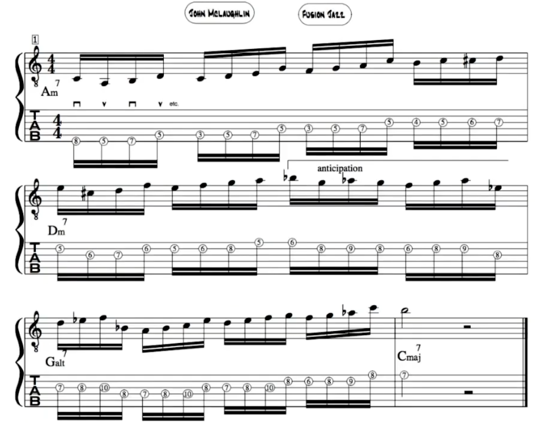 John Mclaughlin Improvisation guitar lick
