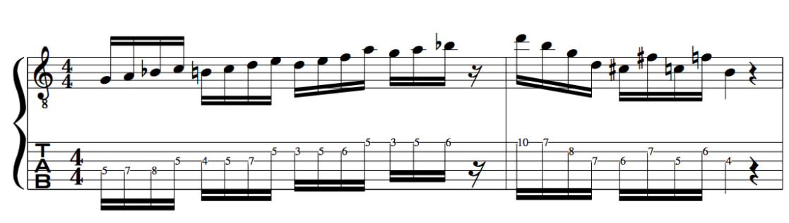 Dominant Be Bop Scale example